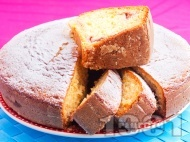Вкусен кекс / сладкиш с кисело мляко и малини